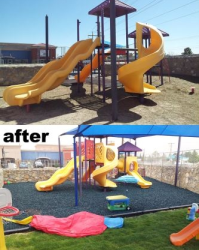 Playground Before and After Rubber Mulch