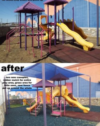 Playground Rubber Mulch Before and After